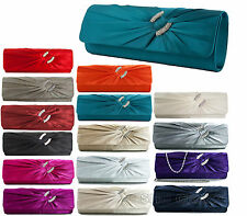 LADIES EVENING CLUTCH BAG DIAMANTE WEDDING BRIDAL PARTY PROM SATIN HANDBAG K75