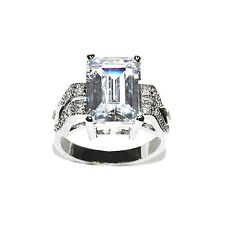 5CTW EMERALD & PAVE FANCY SIDE CUBIC ZIRCONIA WEDDING RING HIGH QUALITY BRIDAL