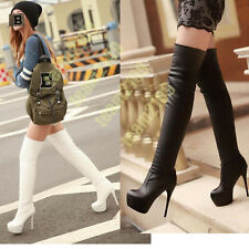 Womens Christmas Stiletto Heel Over Knee Thigh High Leg Boots PLUS SIZE EU UK US