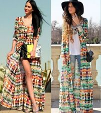 Brand Tie dye Kimono Cardigan Chiffon Long Maxi Dress Beach Cover Size 6 8 10 12