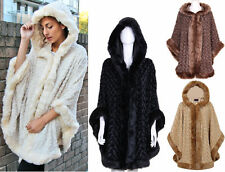 WOMENS LADIES FAUX FUR TRIM HOODED THICK WARM PONCHO CAPE CREAM BLACK MOCHA