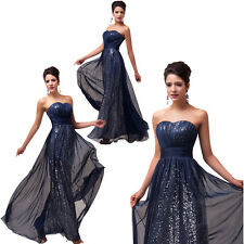 Grace Karin 2014 Strapless Sequins Top Design Chiffon Ball Gown Prom Party Dress