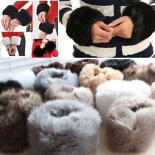 Pair Of Ladies Womens Girls Winter Warm Faux Rabbit Fur Fleece Wrist Cuff Band
