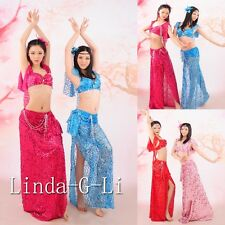 Professional Belly Dance Costume Set 2 Pics Bra + Skirt Performance Costumes 5/2