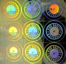 "MEDIUM Hologram ""High Quality Q.C. Passed"" NUMBERED Stickers 12mm Square Labels"