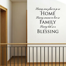 HOME FAMILY BLESSING - Vinyl Wall Art Sticker Decal Decor Lounge Bedroom