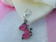 EUROPEAN OR LOBSTER CLASP CLIP ON STYLE CHINESE ZODIAC PINK ENAMEL MONKEY CHARMS