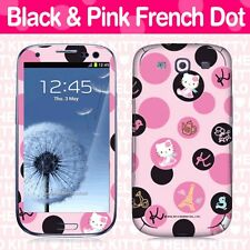 Hello Kitty Cell Phone Body Skins Decals Licensed 2012-Black And Pink French Dot