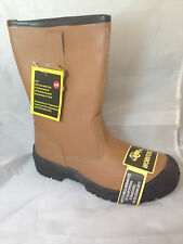 MENS BROWN SCUFF TOE LINED RIGGER SAFETY BOOTS WORK steel toe midsole safety