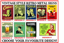 Funny Vintage Style Retro Metal Sign / Plaque - for Home or Pub - choose design!