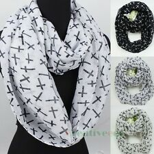 Fashion Women's Cross Print Infinity 2Loop Cowl Eternity Endless Voile Scarf New