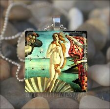 """BIRTH OF VENUS"" BOTTICELLI PAINTING GODDESS GLASS PENDANT NECKLACE KEYRING"