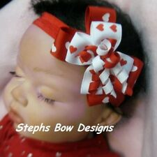 VALENTINES DAY RED & WHITE HEARTS DAINTY LAYERED KORKER HAIR BOW HEADBAND orCLIP