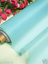 By 0.5 Yard 100% Pure Silk Organza Fabric Material Blue Topaz Light Weight Cloth