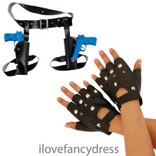 TWIN THIGH GUNS AND HOLSTER STUDDED PUNK GLOVES FANCY DRESS COSTUME ACCESSORY