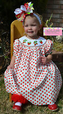 NWT POPLOLLIES  BOUTIQUE SMOCKED DRESS Sweet Strawberry Red Polka Dot