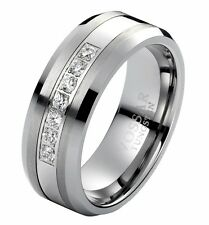 Men's Diamond Tungsten Carbide Wedding Ring Band 8mm Modern Engagement 0.25ct