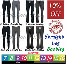 Girls Black Grey Navy School Trousers Stretch Hipster Skinny Miss Chief Bootcut