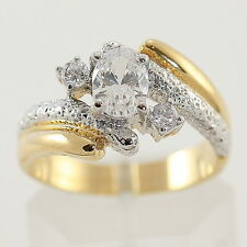 Gold Cocktail Total Bling Ring gp cz Be Noticed! Various Sizes Available