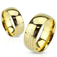 Stainless Steel Gold IP Lord's Prayer & Cross Men's or Women's Wedding Band Ring