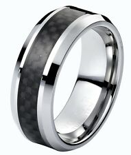 Men's Tungsten Carbide 8mm Classic Wedding Band Ring Black Carbon Fiber Inlay