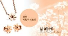 Fashion Girl Jewelry set Rose Gold earring necklace stainless steel Little Daisy