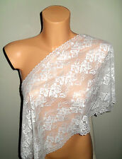"NEW~EXTRA WIDE 33cm~13""  SUPERB IVORY STRETCH FRENCH LACE Bride/Tablerunner"