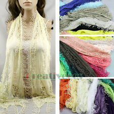 Fashion Women's Crochet Floral Lace Sheer With Funky Tassel Triangle Scarf New