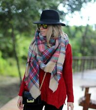 BLOGGERS CHIC LARGE RED CAMEL BLACK PLAID CHECKED TARTAN SCARF WRAP SHAWL