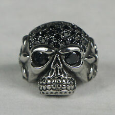 INOX JEWELRY Womens S.S. Skull Black Multi gem Fleur De Lis Ring Size 6-9 NEW