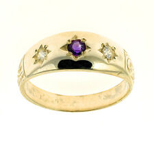9ct Yellow Gold Amethyst & CZ Ring Made In Jewellery Quarter B'ham RRP £385