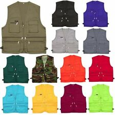 Mens Sleeveless Utility Multi Pocket Zip Hunting Fishing Shooting Outdoor Vest