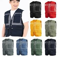 Mens Sleeveless Utility Multi Pocket Zip Hunting Fishing Shooting Fly Mesh Vest