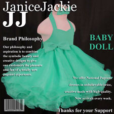 National State Pageant Baby Doll Dress Halter Shell 1-2, 3-4, 4-6T *(SEA GREEN)