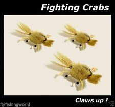 3 FIGHTING CRAB FLIES for fly fishing rods, suits Bonefish Permit Grouper