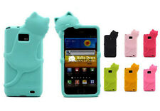 Cute Cat Soft Rubber Silicone 3D Case Skin Cover For Samsung Galaxy S2 /i9100