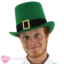 GREEN FELT TOP HAT WITH BUCKLE IRISH LEPRECHAUN FANCY DRESS COSTUME ACCESSORY