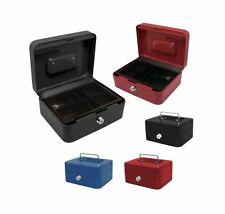 MONEY SAFE SQUARE STEEL PETTY CASH BOX MONEY BANK DEPOSIT WITH 2 KEYS & TRAY
