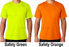 Hanes Mens Safety Green Orange Moisture Wicking 50+ UV Run Work T-Shirt XS-3XL