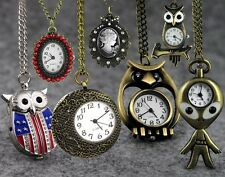 Unique Bronze Alloy Quartz Pocket Watch Steampunk Pendant Necklace Jewelry Gifts