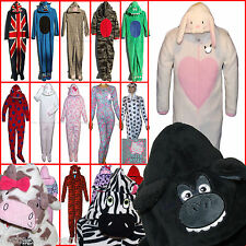Kids Boys Girls Onesie Sleepsuit All in One Pyjamas Hooded Fleece 2-15 NEW