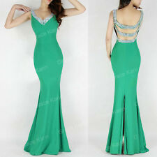 Elegant Mermaid Deep V-Neck Backless Cocktail Ball Gown Evening Prom Party Dress