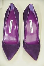 New Manolo Blahnik BB 115 Violet Purple Suede Classic Shoes Heels Pumps 39.5 40