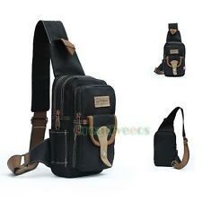 Men's Canvas Travel Hiking Bike Shoulder Messenger Sling Chest Sports Bag Pouch