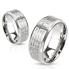 316L Stainless Steel Lord's Prayer Men's or Women's Cross Band Ring Sizes 5-13