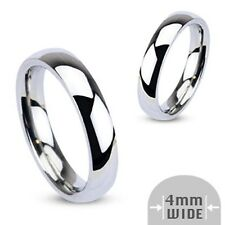 316L Stainless Steel Polished Comfort Fit 4mm, 6mm or 8mm Wide Wedding Band Ring