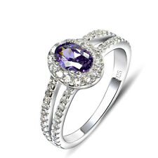 925 sterling silver purple amethyst&CZ Crystal Paved Wedding Ring Band Jewelry