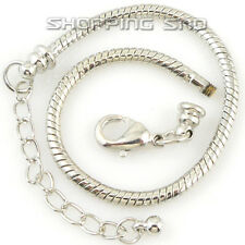 10pcs Silver /P Lobster Clasp Snake Chain Charm Bracelets Fit European Beads Diy