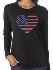 American Flag Heart 2 Rhinestone Women's LS T-Shirts Patriotic 4th of July