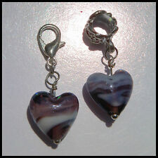EUROPEAN OR LOBSTER CLASP CLIP ON STYLE PURPLE SWIRL MURANO GLASS HEART CHARMS